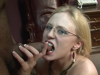 Blonde gets her mouth fucked silly by sex obsessed guy