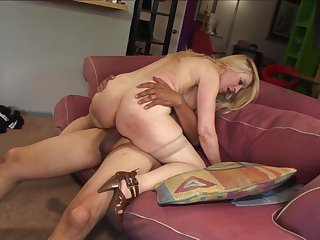 Blonde with giant boobs shows off her hot body as she gets her mouth drilled