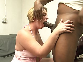 Blonde is horny as hell and fucks with wild passion in steamy interracial action with horny man