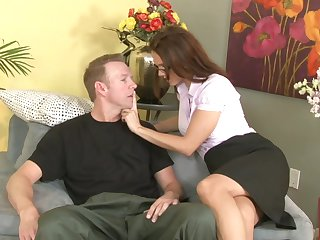 Brunette Jennifer Dark with juicy breasts eats dudes beefy hard meat stick like there's no tomorrow
