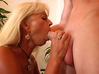 Blonde is dangerously horny in this cumshot scene