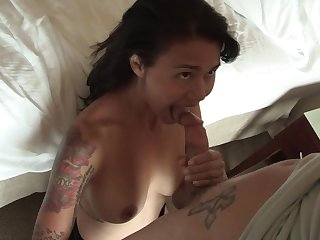 Brunette James Dean with gigantic jugs loves the way Tyler Nixon drills her mouth