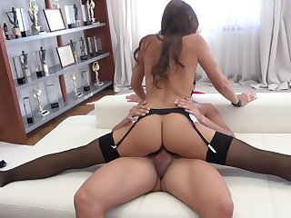 Brunette hottie gets skull fucked with no mercy by horny dude