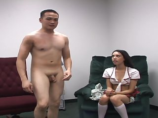 Brunette gives double handed handjob