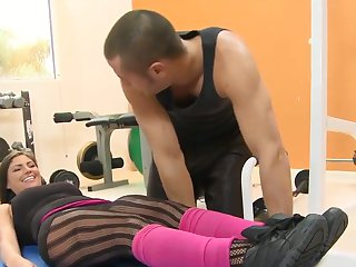 Brunette Brianna Brooks with phat butt and hairless muff blowing the sticky nectar out of Danny Mountains sausage