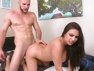Brunette chicana Jmac with big breasts and clean cunt swallows guy's erect ram rod