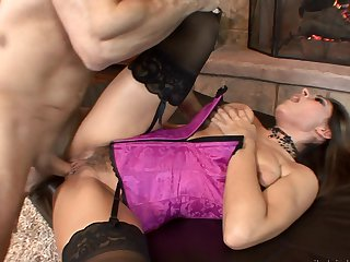 Brunette Raylene with big melons sucks like a first rate whore in steamy oral action with John Strong