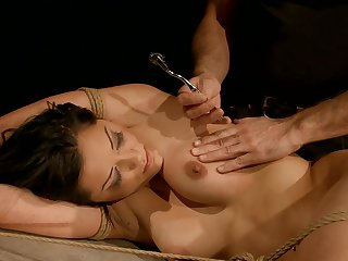 Brunette feels the best feeling ever with dudes sticky man semen all over her face