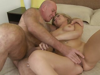 Blonde is in heaven fucking with hot dude in hardcore action