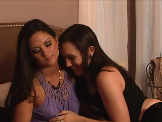 Sex starved hooker Sinn Sage getting her dripping wet love hole rubbed by lesbian Stephanie Swift