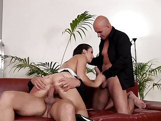 Brunette Neeo with juicy tits finds man hot and takes his hard snake in her mouth