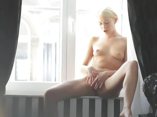 Teen goddess gives a closeup view of her cunt while masturbating with sex toy