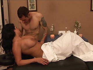 Brunette Lacie James with big boobs just loves to blow and can't say No to horny guy Joey Brass